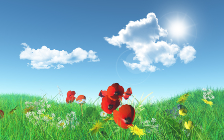 3D render of poppies in a grassy landscape