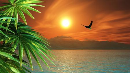 3D hacen de un águila volando sobre el océano en un paisaje tropical