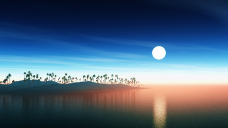 sunset sky: 3D render of an island of palm trees against a sunset sky