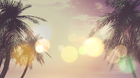 palm trees: 3D render of palm trees against a sunset sky with a vintage effect