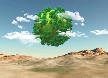 barren: 3D render of a grassy globe with trees over a barren landscape Stock Photo