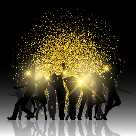 gold woman: Silhouettes of party people on glitter background Stock Photo