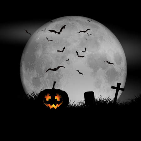 moonlit: Halloween background with pumpkin against a moonlit sky Stock Photo