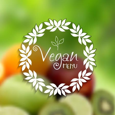defocussed: Decorative vegan menu design with defocussed image of fruit