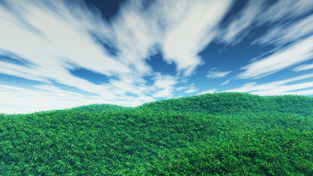 dramatic clouds: 3D render of a grassy landscape with dramatic clouds
