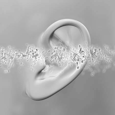 dolor de oido: 3D render of a close up of an ear with music notes