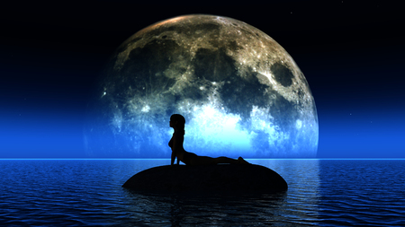 serene people: 3D render of a female in a yoga pose in front of the moon