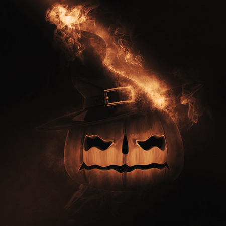 haunting: 3D render of a Halloween pumpkin with smoke and flames Stock Photo