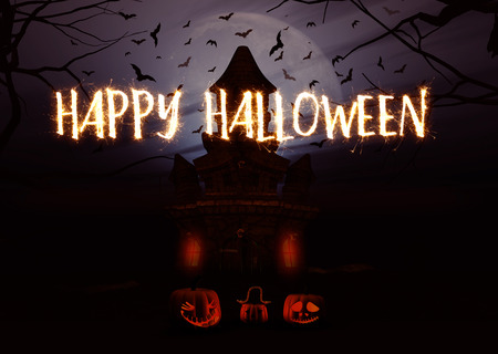 monsters house: 3D render of a Halloween background with pumpkins and spooky castle and sparkler writing