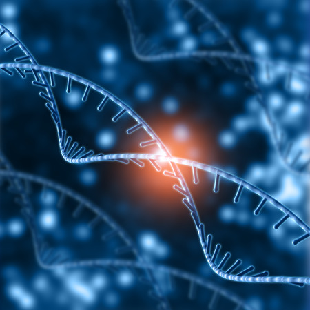 strands: 3D render of a medical background with DNA strands Stock Photo