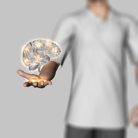 microcosmic: 3D render of a defocussed male figure holding a human brain