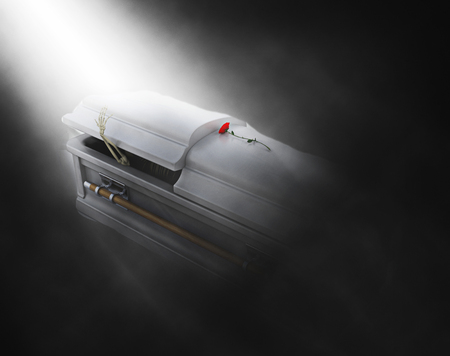 coffins: 3D render of skeleton emerging from a coffin