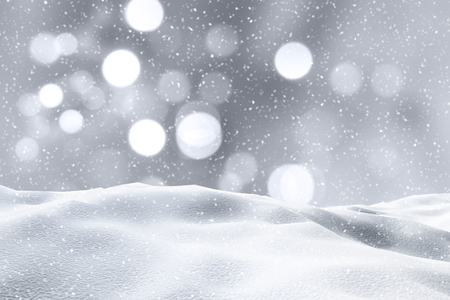 snow drifts: 3D render of a snowy landscape with bokeh lights