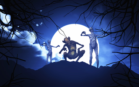 haunting: 3D render of Halloween demons in a spooky moonlit landscape