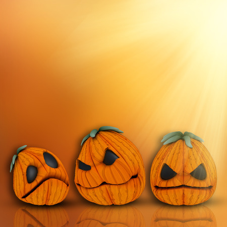 haunting: 3D render of a Halloween background with cute pumpkins Stock Photo