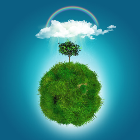 abstract tree: 3D render of a grassy globe with tree, rainbow and rain cloud Stock Photo