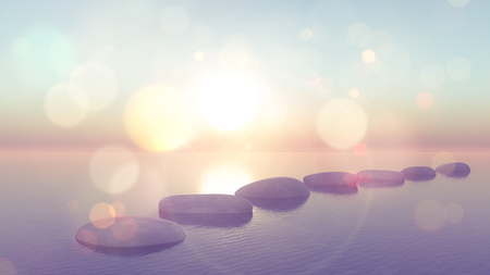 stepping: 3D render of stepping stones in ocean with vintage effect Stock Photo