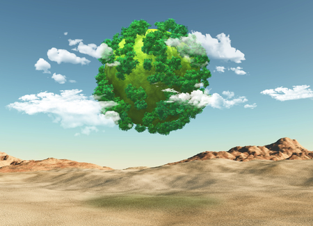 3D render of a grassy globe with trees over a barren landscape Stock Photo