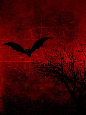 Dark grunge background with spooky tree and Halloween bat