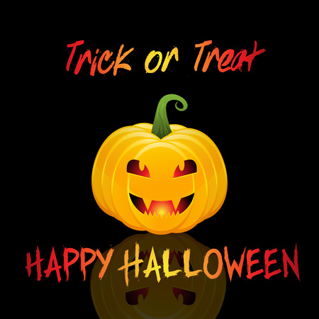 trick: Halloween trick or treat background with pumpkin Stock Photo