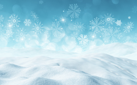 3D render of a Christmas background with snow Stockfoto