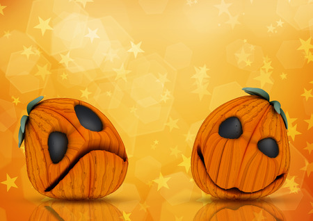 haunting: 3D render of Halloween pumpkins on starry background