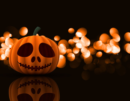 3D render of a spooky Halloween pumpkin on a bokeh lights background Stock Photo