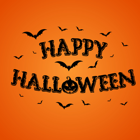 happy halloween: Happy Halloween background with pumpkin and bats Stock Photo