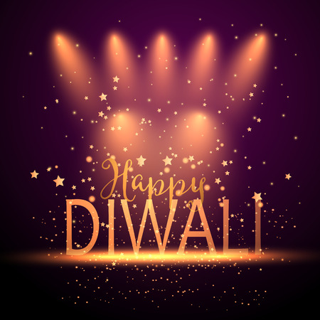Decorative background for Diwali celebration with spotlights and stars Stock Photo