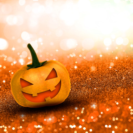 glittery: 3D render of a Halloween pumpkin on glittery background