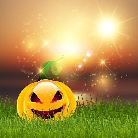 jack o' lantern: Halloween background with spooky jack o lantern Stock Photo