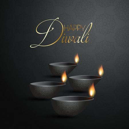 Decorative Diwali background with burning Diya lamps