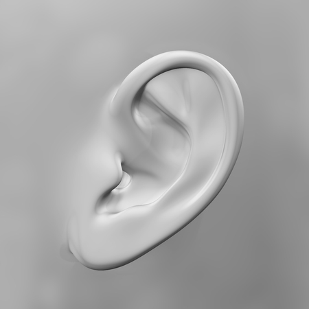dolor de oido: 3D render of a close up of an ear Foto de archivo