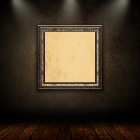 vintage picture frame: 3D interior with vintage picture frame on a grunge wall Stock Photo