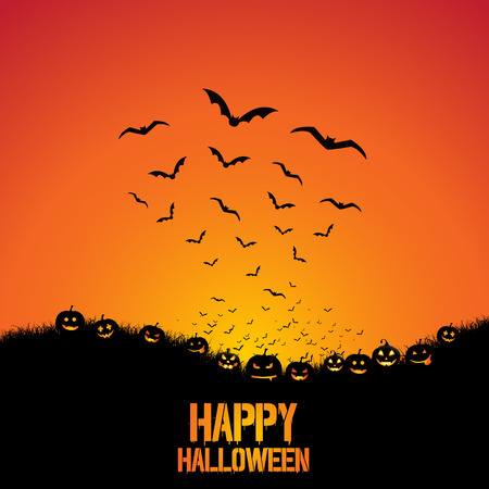 Spooky Halloween background with pumpkins and bats Stock Photo