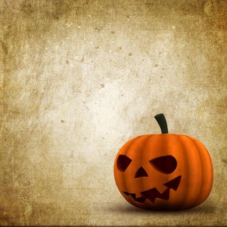 jack o  lantern: Grunge style Halloween background with Jack O Lantern Stock Photo