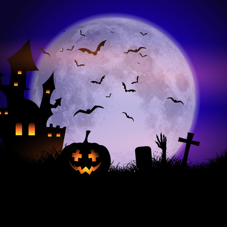 Halloween Spooky House.Spooky Halloween Background With Haunted House And Pumpkins