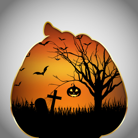 out of shape: Halloween background with spooky landscape and pumpkin cut out shape