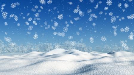 3D hacen de un paisaje nevado