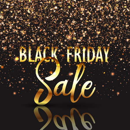 christmas savings: Black Friday sale background with gold confetti Stock Photo