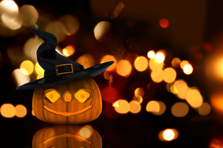 3D render of a Halloween background on a bokeh lights background