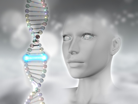 microcosmic: 3D render of a female head and DNA with one glowing strands Stock Photo