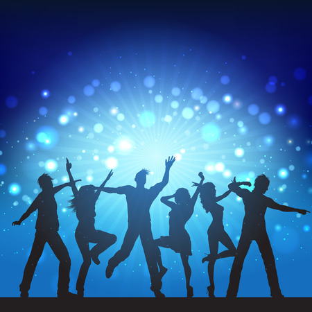 disco background: Silhouettes of party people on disco lights background Stock Photo