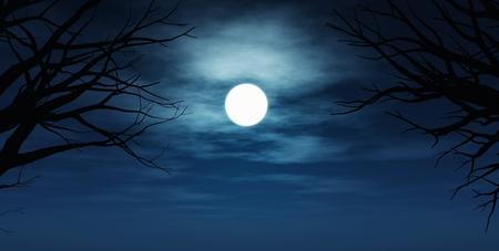 noche y luna: 3D render de un cielo nocturno fantasmagórico con siluetas de árboles