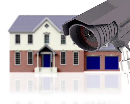 closed circuit television: 3D render of a defocussed house with CCTV - home security concept