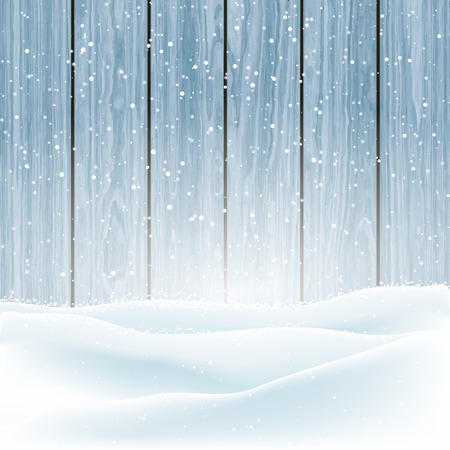 drift: Christmas winter snow on a wooden background