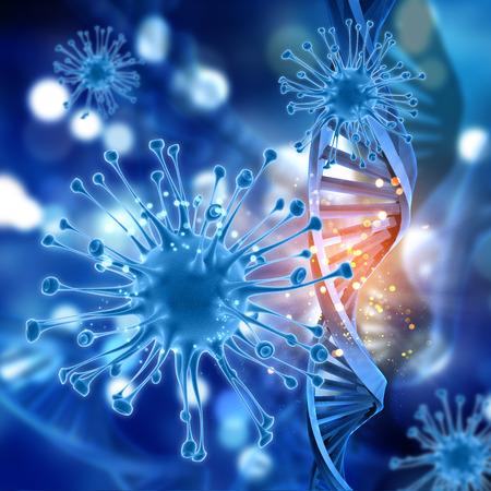 dna strands: 3D render of a medical background with virus cells and DNA strands