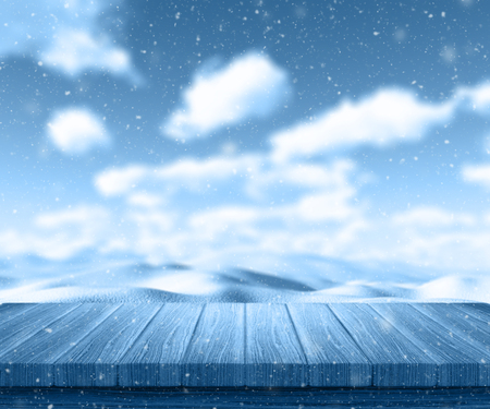 winter weather: 3D render of a wooden table looking out to a snowy landscape