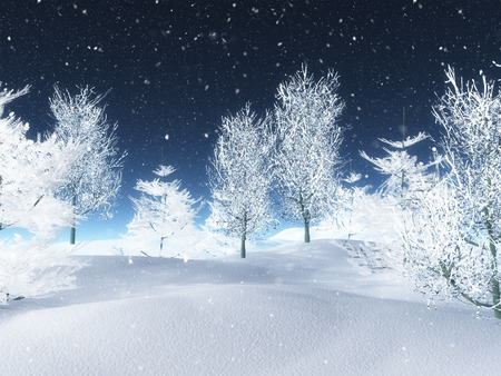 3D render of a snowy winter landscape