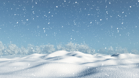 drifting: 3D render of a snowy landscape Stock Photo
